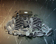 Motor Framed Prints - Monster Truck Grunge Framed Print by Frank Ramspott