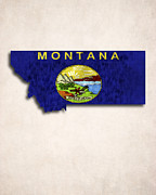 Montana State Map Metal Prints - Montana Map Art with Flag Design Metal Print by World Art Prints And Designs