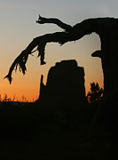 Southwest Pyrography Posters - Monument Valley Landscape Silhouette Poster by Katrina Brown