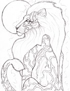 Horus Drawings Metal Prints - Moon Lion Sketch Metal Print by Coriander  Shea