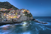 Cinque Terra Prints - Moon over Manarola - the Cinque Terre Print by Rob Greebon