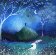 Illustration Framed Prints - Moonlite and Hare Framed Print by Amanda Clark
