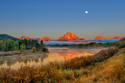Early Autumn Framed Prints - Moonset over Oxbow Bend Framed Print by Greg Norrell