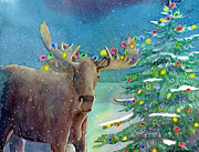 Christmas Card Painting Originals - Moosey Christmas by LeAnne Sowa