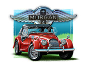 Morgan Metal Prints - Morgan Plus 4 in Red Metal Print by David Kyte