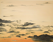 The Heavens Paintings - Morning glow by Jane Autry