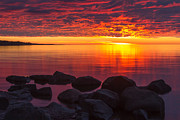 Lake Superior Prints - Morning Glow Print by Mary Amerman