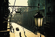 Streetlamps Posters - Morning in Lisbon Poster by Carl Purcell