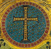 Byzantine Digital Art Metal Prints - Mosaic Cross Ravenna I Metal Print by Nigel Fletcher-Jones