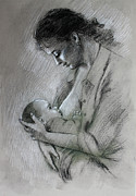Mother Drawings Posters - Mother and Baby Poster by Viola El