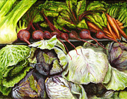 Lettuce Painting Prints - Mother said to eat your vegetables Print by Nan Nelson