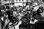 Bicycle Photos - motor scooters parked in downtown Barcelona Catalonia Spain by Joe Fox