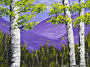 Handmade Trunk Posters - Mountains And Birch Trees In Spring Pallete Knife Painting Poster by Keith Webber Jr