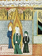 Miniatures Art - Muhammad Prays With Ali And Khadijah by Everett