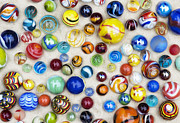 Hand Made Metal Prints - Multicoloured Marbles Metal Print by Tim Gainey