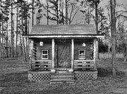 Log Cabins Art - My Cabin BW by Kevin Pugh
