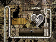 Steampunk Digital Art Prints - My Steampunk Heart Print by Barbara  White