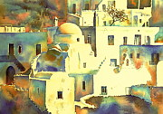Greece Watercolor Paintings - Mykonos 3 by Thomas Habermann