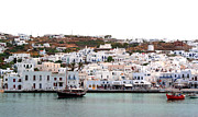 Sarah Christian Framed Prints - Mykonos Village Framed Print by Sarah Christian