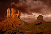Surreal Landscape Pyrography Framed Prints - Natures Fury in Monument Valley Arizona Framed Print by Katrina Brown