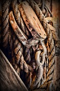 Wooden Ship Prints - Nautical - Boat - Block and Tackle with Rope Print by Paul Ward