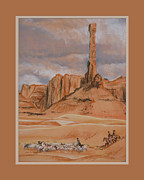 Shepherds Pastels Framed Prints - Navajo Shepherds below Totem Pole Rock Framed Print by Kathryn Yoder