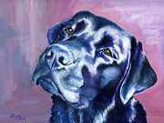 Labrador Paintings - Need Help With That? Black Lab by Amy Reges