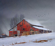 R christopher Vest - Neighbors Barn In Blowing Snow