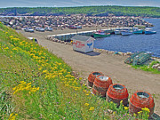 Boats In Harbor Digital Art Posters - Neils Harbor Dock on Cape Breton Island-NS Poster by Ruth Hager