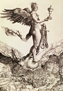 Mythology Drawings - Nemesis by Albrecht Durer
