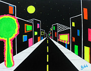Teen Town Prints - Neon Nights Print by JoNeL  Art