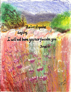 Scripture Pastels Posters - Never Leave You Poster by Catherine Saldana