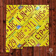 Travel  Mixed Media - New Mexico License Plate Map by Design Turnpike