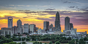 Charlotte Skyline Framed Prints - New South Summer Sunset Framed Print by Brian Young
