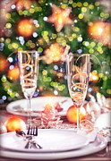 Champagne Glasses Framed Prints - New Year table setting Framed Print by Anna Omelchenko