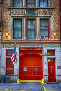 Red Door Prints - New York Fire Station Print by Garry Gay
