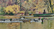 Business-travel Digital Art Prints - New York Park boat ride Print by Yury Malkov