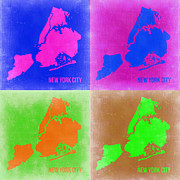 World Map Digital Art Metal Prints - New York Pop Art  Map 2 Metal Print by Irina  March