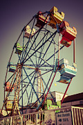 Treatment Metal Prints - Newport Beach Ferris Wheel in Balboa Fun Zone Photo Metal Print by Paul Velgos