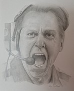 Sec Drawings Posters - Nick Saban Motivational Speaker Poster by Ron Cartier