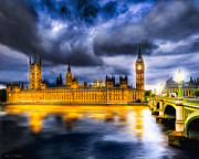 Textured Photo Framed Prints - Night Falls on British Parliament Framed Print by Mark E Tisdale