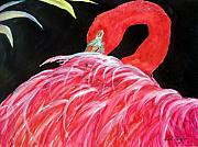 Tropical Fish Paintings - Night Flamingo by Lil Taylor