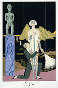 Pleading Framed Prints - Night Framed Print by Georges Barbier