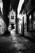 Night Lighted Ancient Street  Fine Art Print by Valerii Tkachenko