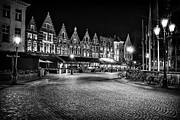 Night Lighted Bruges Fine Art Print by Valerii Tkachenko