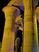 West Africa Digital Art - Night Lighting on Massive Columns in Kom Ombo Temple by Ruth Hager