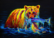 Animals Tapestries Textiles Originals - Night of the Grizzly by TeshiaArt