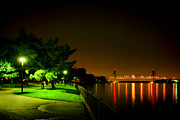 River Park Framed Prints - Nightime Promenade Framed Print by Olivier Le Queinec