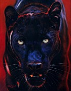 Lion Pastels Acrylic Prints - Nightstalker  Black Panther version A Acrylic Print by John  Palmer