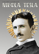 Alternating Current Prints - Nikola Tesla Print by Joaquin Abella Ojeda